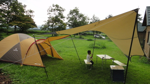 久住山荘南登山口キャンプ場でキャンプ&スラックラインしてきた