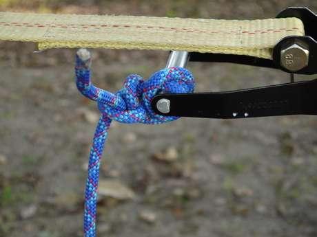 ロープをハンドルに巻き付ける