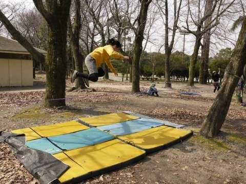 3月9日の春日公園スラックライン